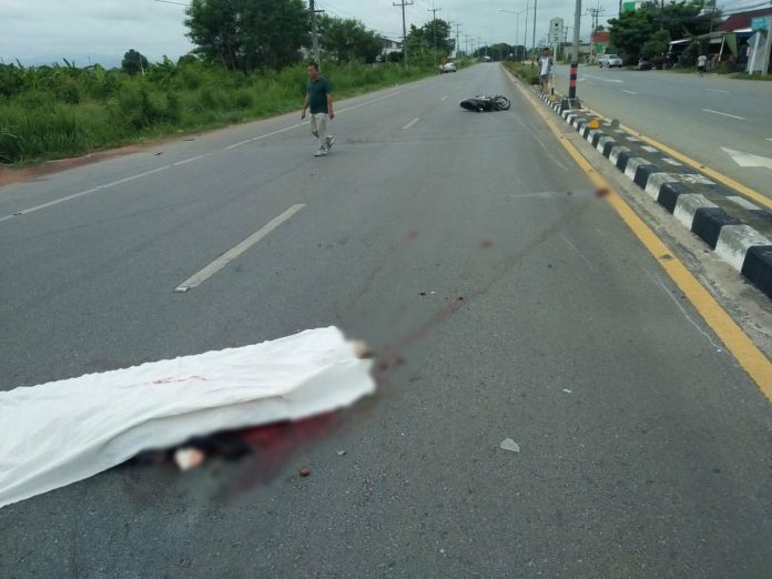 One dead in accident between motorcycle, truck in San Pa Tong