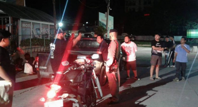 Police at Street Brawl In Chiang Mai