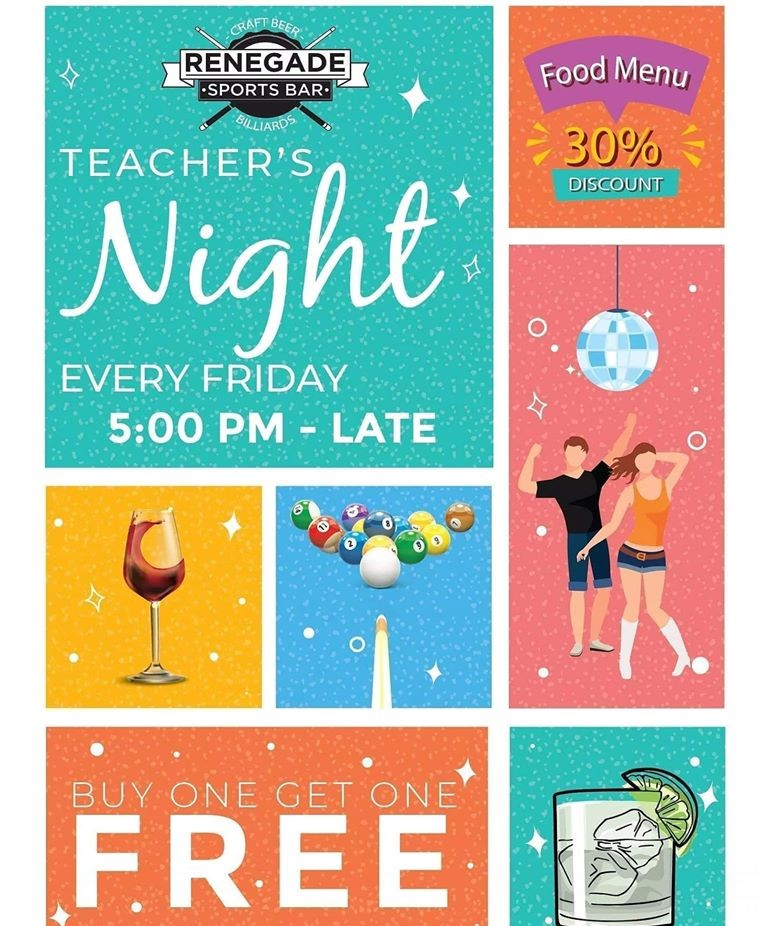 Teachers Night at Renegade Sports Bar