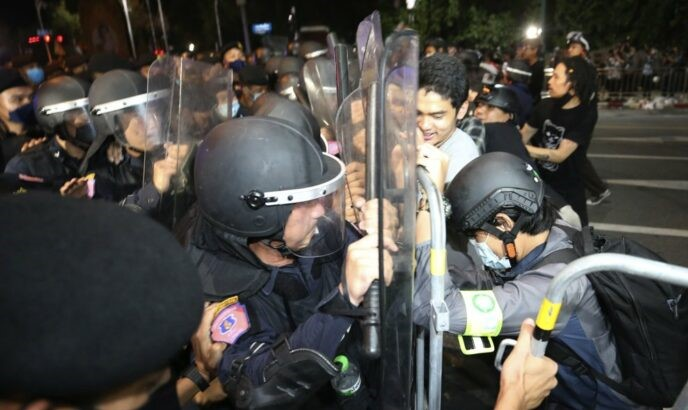 Police at Protest in Bangkok