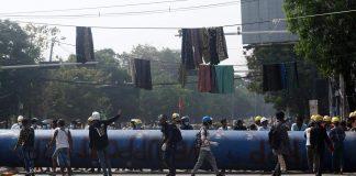 Myanmar Coup - Protesters In Yangon