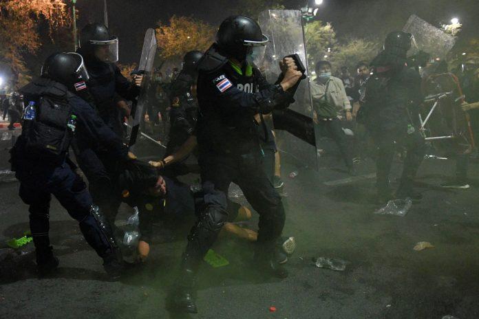 Riot Police At Bangkok Protest