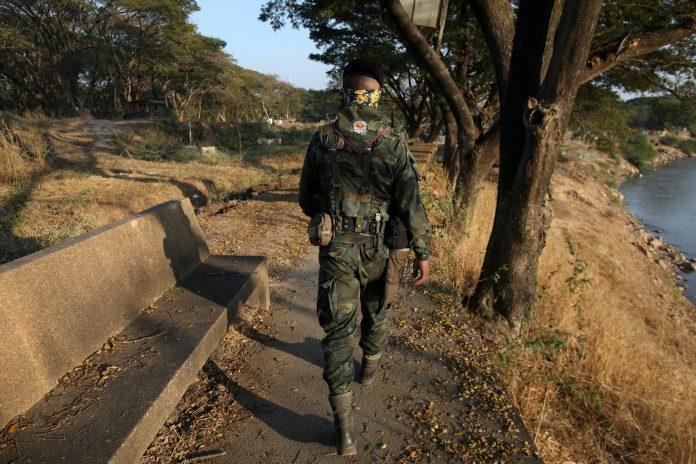 Thai Soldier Patrolling Myanmar Border